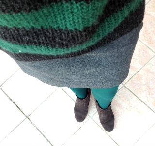 look d'automne vert et gris
